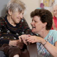 Caring staff take time to chat to the residents