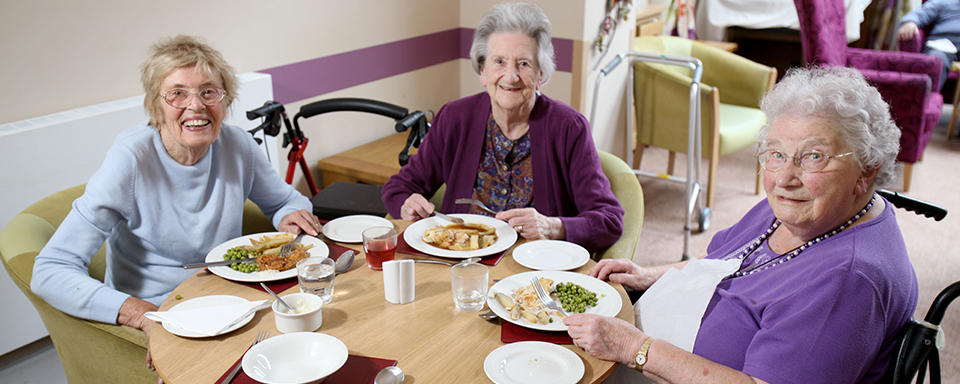 Sharing a meal at Peregrine House