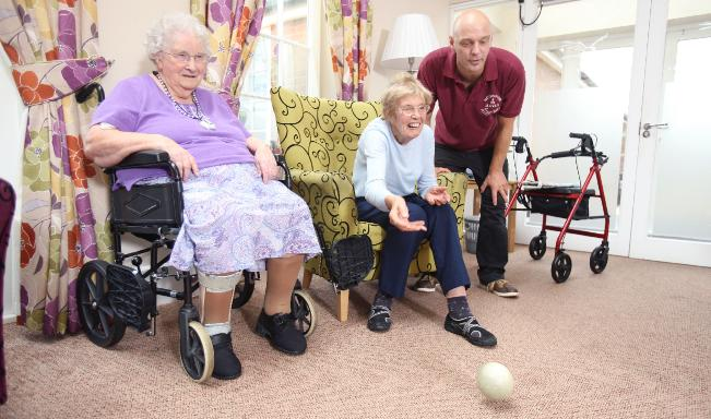 indoor bowling at Peregrine House